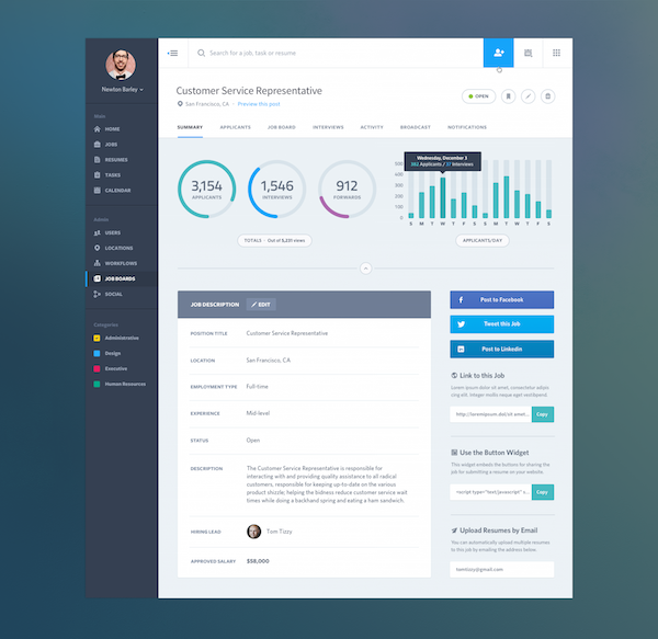 Dashboard Web App Product UI Design - Job Summary