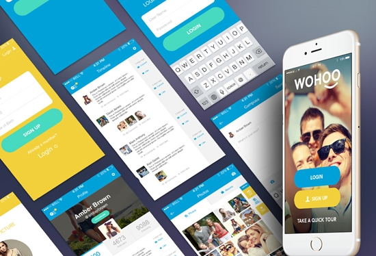 WOHOO Free Mobile App UI Kit