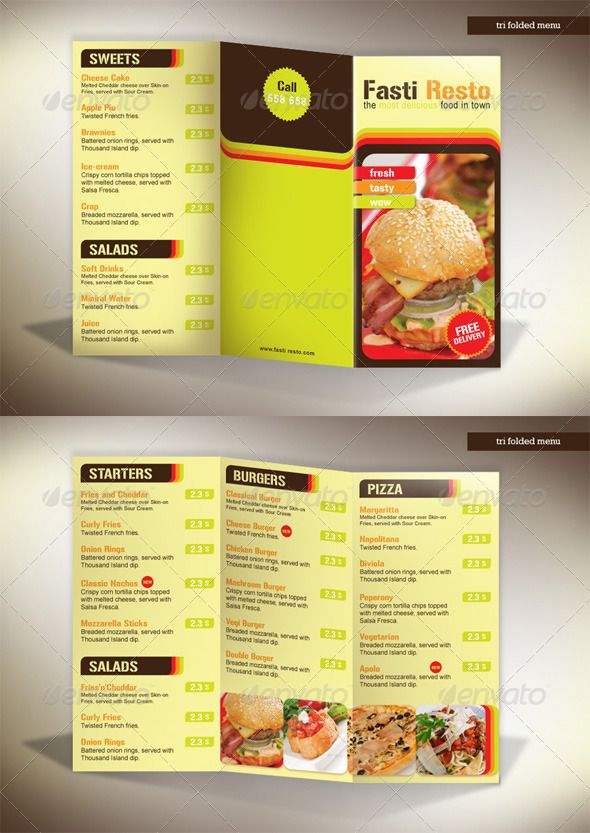 Folding Menu Template Kleobeachfixco - 3 fold menu template