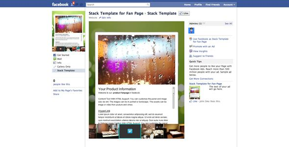Flash Stack Template for Facebook Fan Page