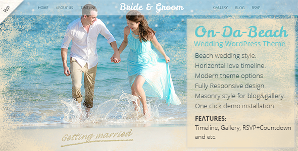 On Da Beach - Wedding WordPress Theme