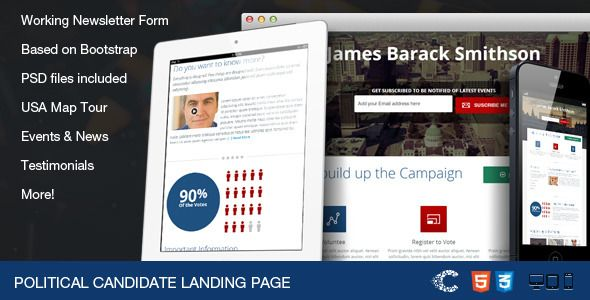 Political Candidate - Responsive Landing Page