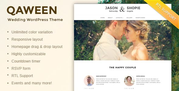 Qaween - Responsive WordPress Wedding Theme