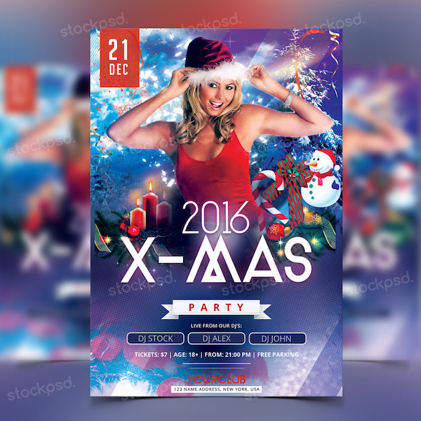 2016 x mas party free psd flyer