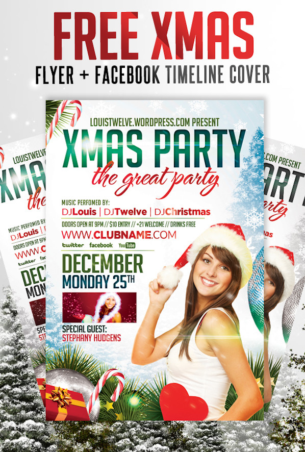 FREE Xmas Party - Flyer + Facebook Timeline Cover