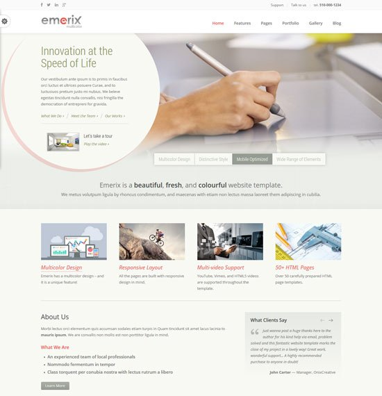 22 free premium business website templates dzineflip emerix responsive business html5 template cheaphphosting Images