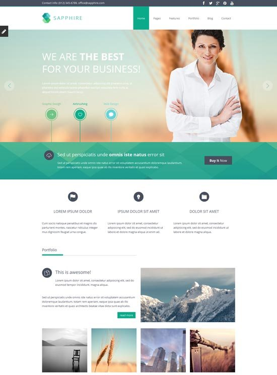 22 free premium business website templates dzineflip sapphire responsive html5 css3 template friedricerecipe Image collections