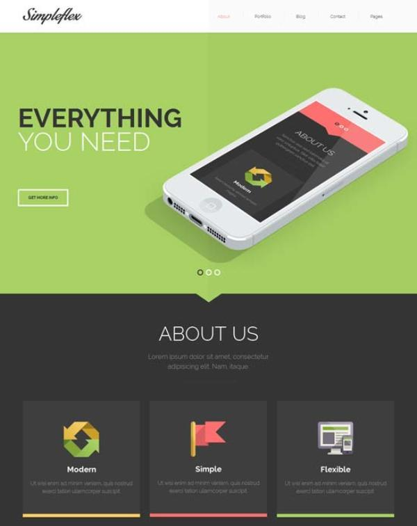 Simpleflex – OnePage & MultiPage Flat HTML template