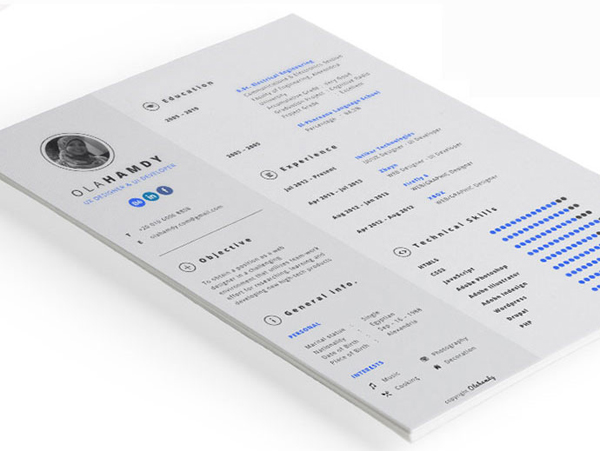 Free clean interactive resume