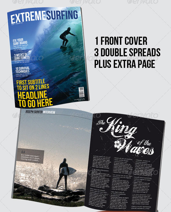 Surfing Magazine – 8 page – 4 layouts