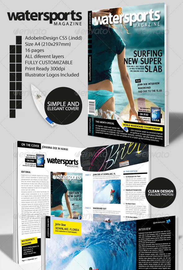 WaterSports Indesign Magazine Template