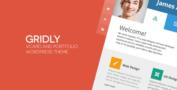 Gridly vCard - Personal Portfolio WordPress Theme