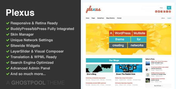 Plexus - Multisite Network WordPress - BuddyPress Theme