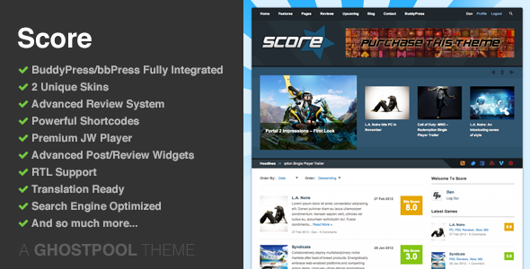 Score - Review WordPress - BuddyPress Theme
