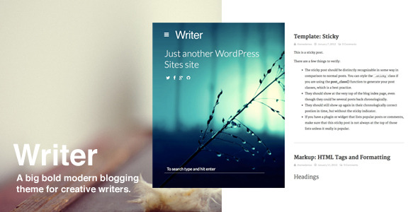 Writer - Bold WordPress Bloggin Theme