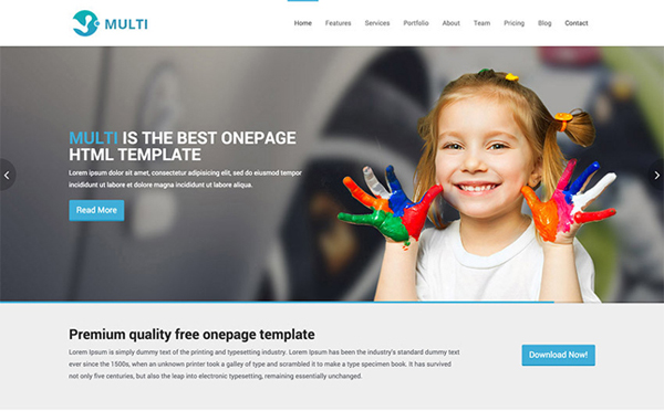 Multi – Free Responsive OnePage HTML Template
