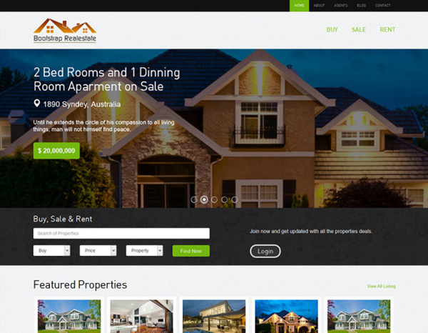 Real Estate – bootstrap template