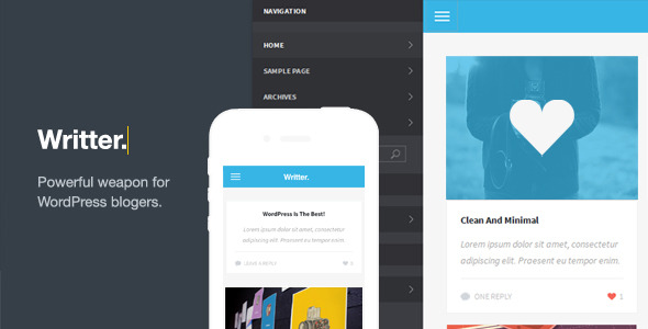 Writter - A Modern Grid Based Mobile Theme