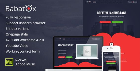 Babatox - One Page Landing Page Muse Template