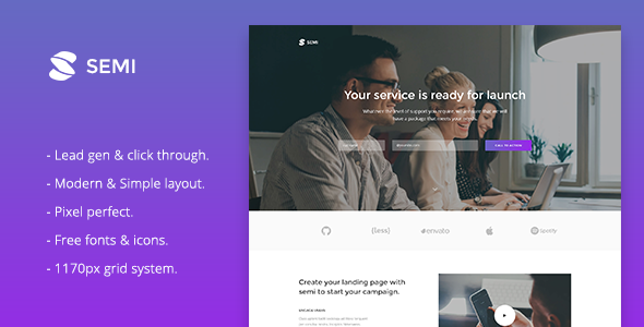 Semi - Service Landing Page Responsive Muse Template