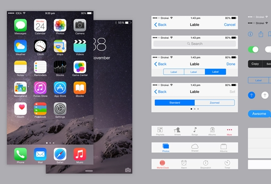 IOS 8 IPhone 6 Plus UI Kit PSD