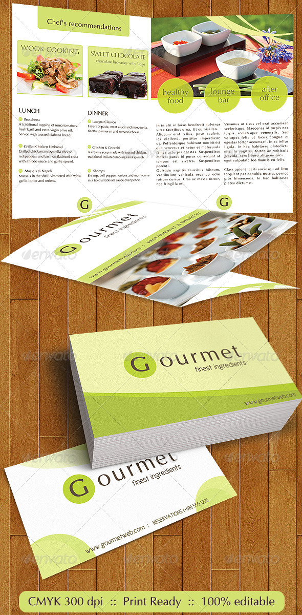 Gourmet Food Catering Menu and Business Cards