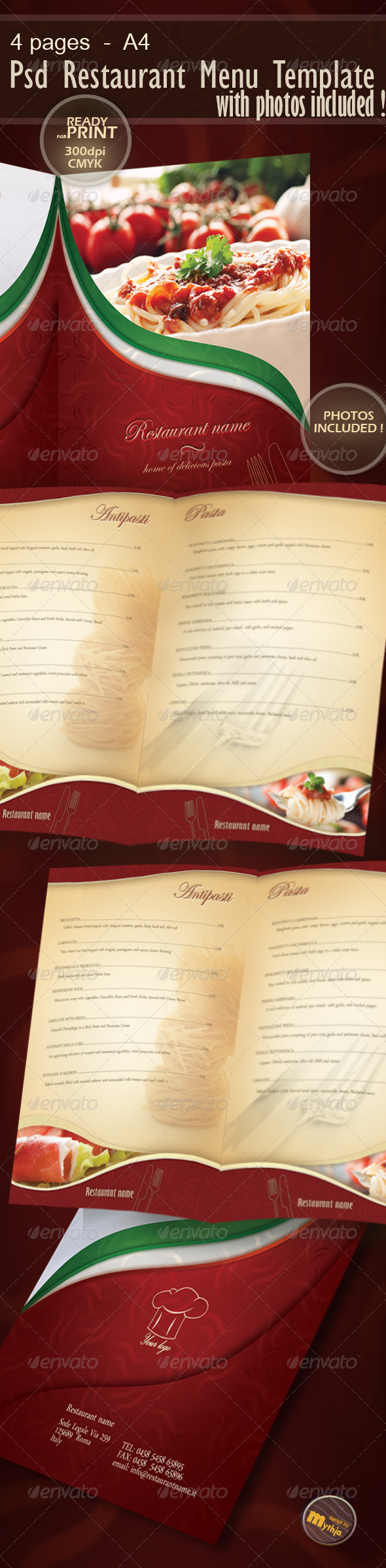 Restaurant Menu template with photos incuded