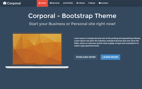 Corporal – One page Responsive Bootstrap Business Theme