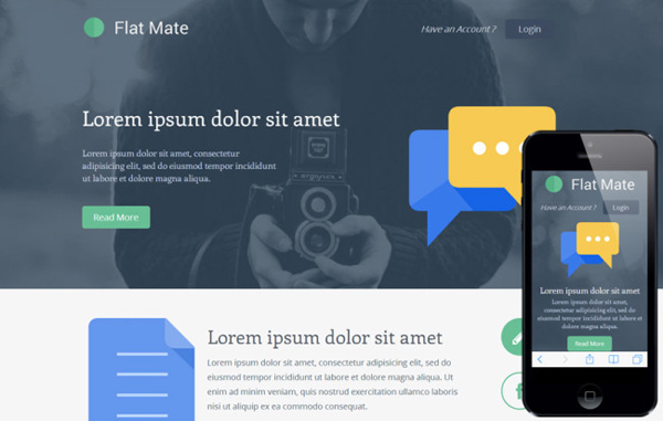 Flatmate – One Page Bootstrap Template