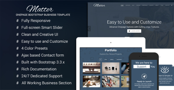 Matter – Free Bootstrap Business Template