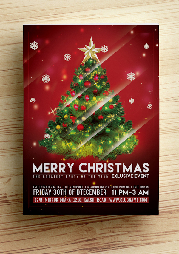 Christmas Party Flyer Template (Free Download)  Christmas Template Free