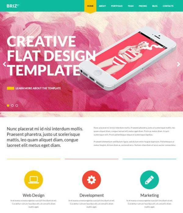 BRIZZZ – Flat One Page HTML Template