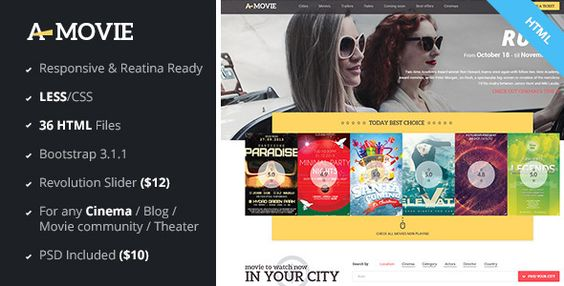 A.Movie - Cinema-Movie HTML LESS Template