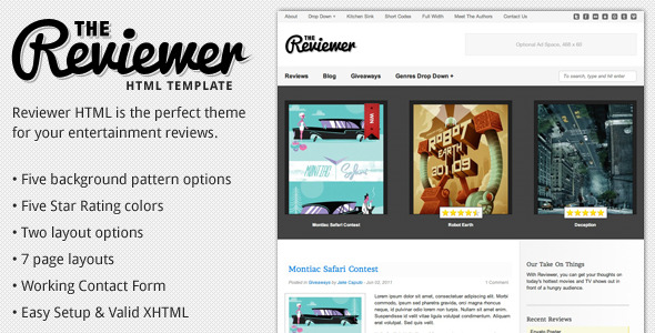 Reviewer - HTML Template for Entertainment Reviews