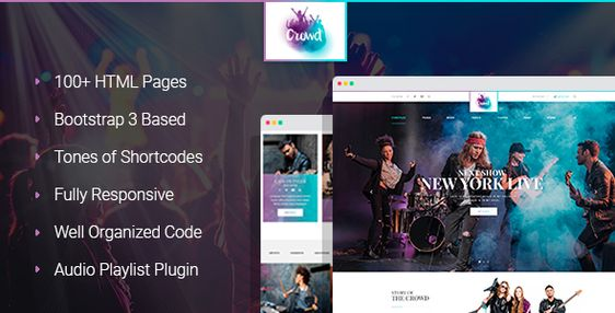 TheCrowd - Rock Band Page HTML Template with Page Builder
