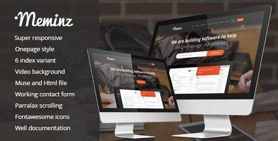 Meminz Download Software Landing Page Muse Template
