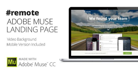 Remote - Muse Landing Page with Fullscreen Video Header