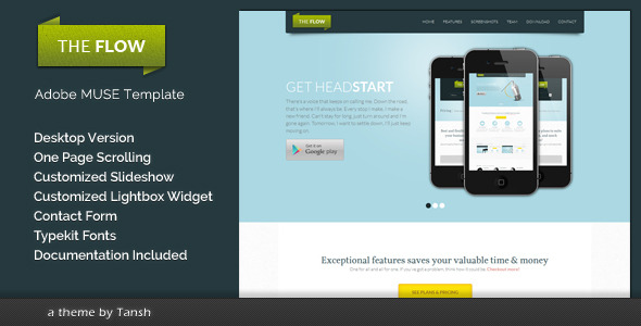 The Flow One Page Muse Template